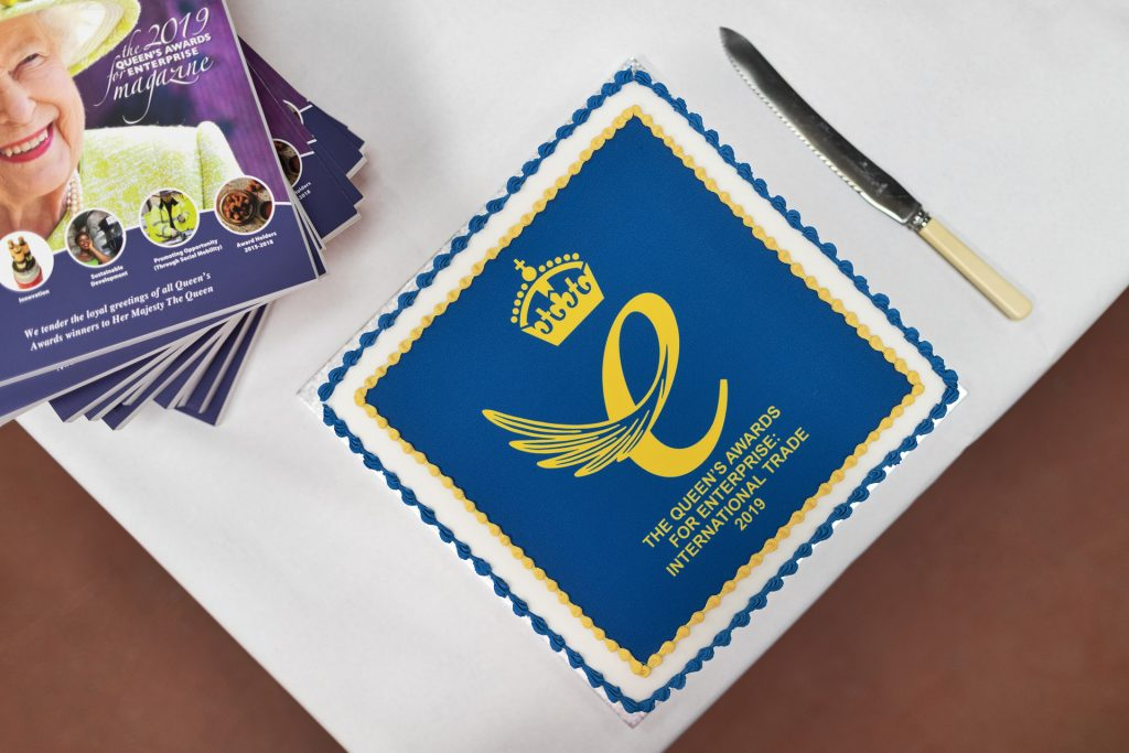 Celebration cake, Queen's Award for Enterprise, Firesafe, 2019,Fleck's emblem