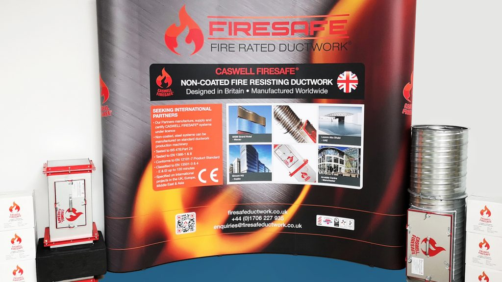 Firesafe exhibition stand and fire resisting ductwork