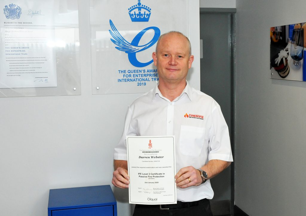 Darren Webster,Technical Manager,Firesafe,IFE,Queen's Award,Institution of Fire Engineers