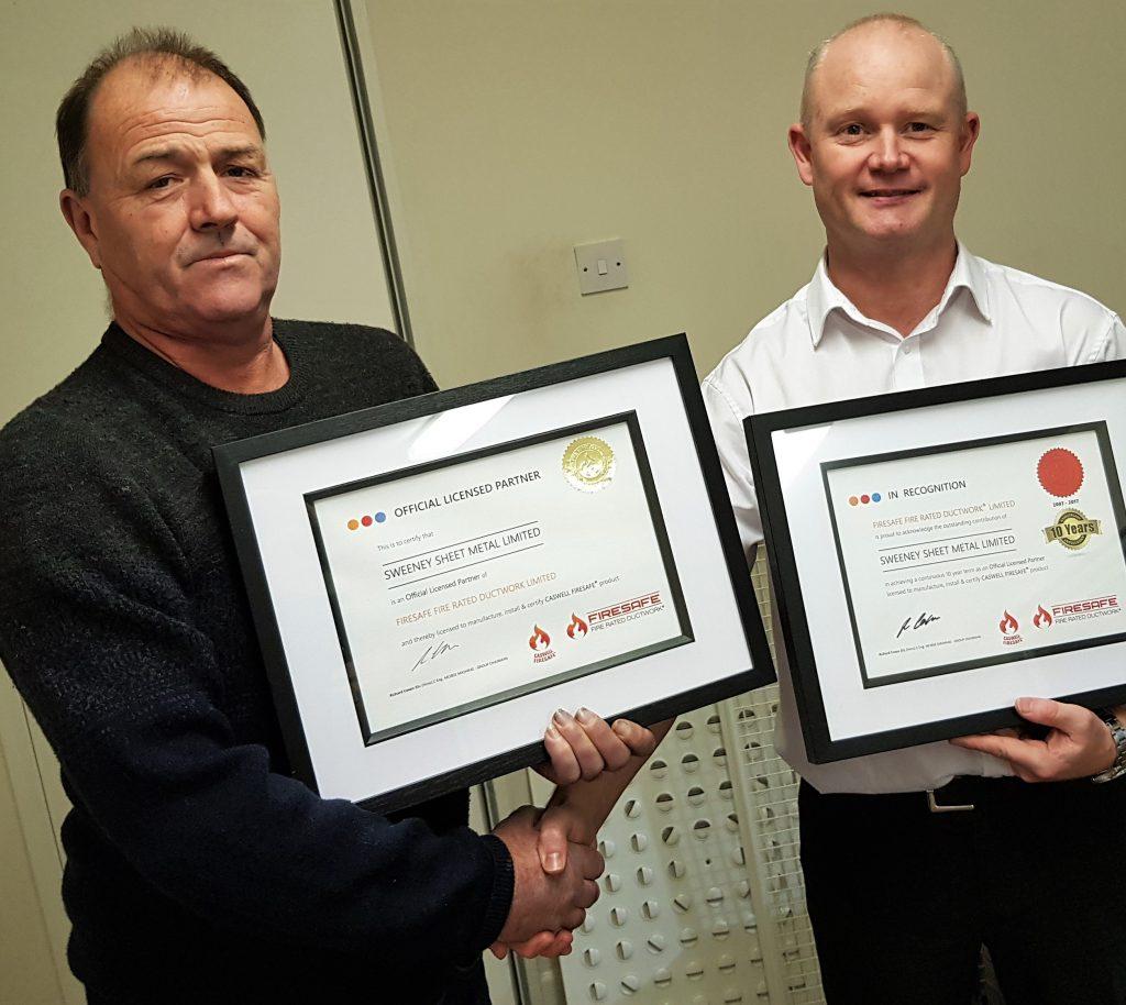 Ian Sweeney of Sweeney Sheet Metal Ltd Firesafe Technical Manager, Darren Webster