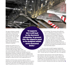Page from BESA Book 2021 editorial by Firesafe Fire Rated Ductwork